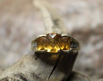 Chunky Vintage Gold Plated Black Onyx Gemstone Ring 6.75 Vintage Rhinestone Cocktail Ring 8.5 Size 5 6