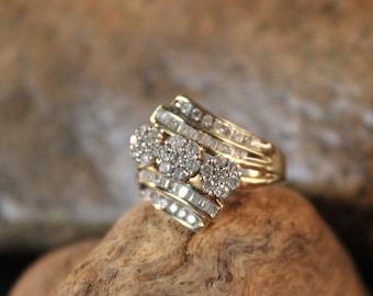 Diamond Ring 10K Solid Yellow Gold .65ctw Diamond Ring 3.7 Grams Size 5.5 Diamond Cocktail Ring Vintage Diamond Rings Womans Diamond Rings