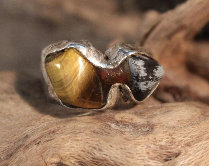 Mens Vintage Ring Silver Tigers Eye Ring Size 8.5 Vintage Men Ring 11.1 Grams Silver Onyx Tigers Eye Rings Vintage Silver Modernist Rings