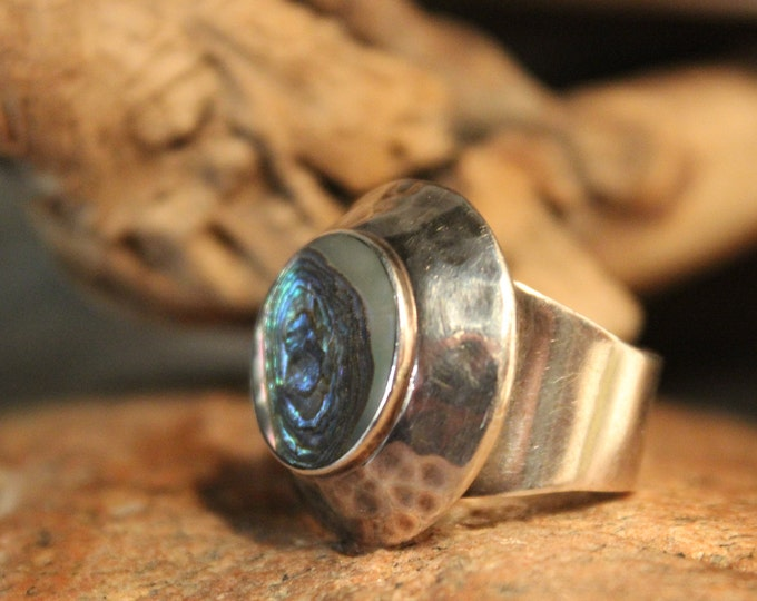 Large Sterling Mexican Abalone Ring Vintage Abalone Shell Ring 11.5 Grams Size 6 Large Silver Abalone Inlay Ring Mexican Vintage mens Ring