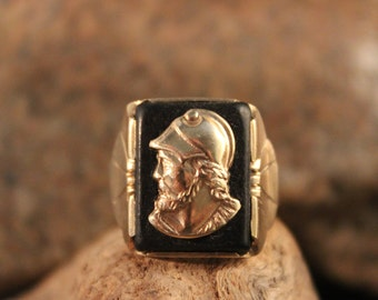 Mens 10K Solid Gold Ring Roman Soldier Ring Size 7.5 Vintage Mens 10K Yellow Gold Ring 4 Gram Roman Gold Ring Mens Gold Rings Mens Gold Ring