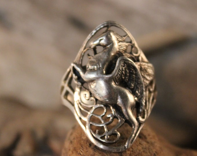 "Large Mens Ring Mens Sterling Silver  Ring ""Pegasus"" Vintage Sterling Ring 9.4 Grams Size 14 Mens Large Silver Signet Ring Mens silver Rings"
