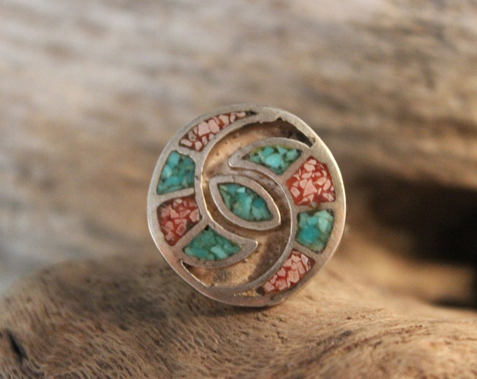 Vintage Navajo Sterling  Silver Turquoise Coral Ring Native American 5.9 Grams Size 6.25 Sterling Silver Vintage Turquoise Coral Inlay Ring