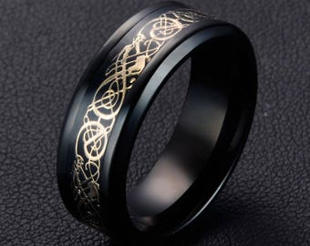 Mens Rings Wedding Band 8mm Band Gold Celtic Viking Dragon Ring Size 8 Tungsten Carbide Ring Promise Friendship ring Mens Black Dragon Ring