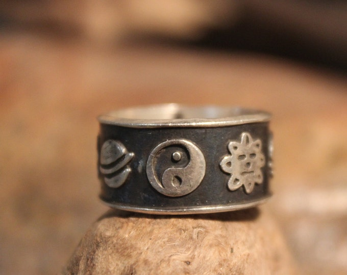 Sterling Mexico Man Ring Yin Yang Ring 8 Grams Size 9 Silver Friendship Ring Mens Vintage Sterling Ring Mexican Silver Vintage 925 Ring
