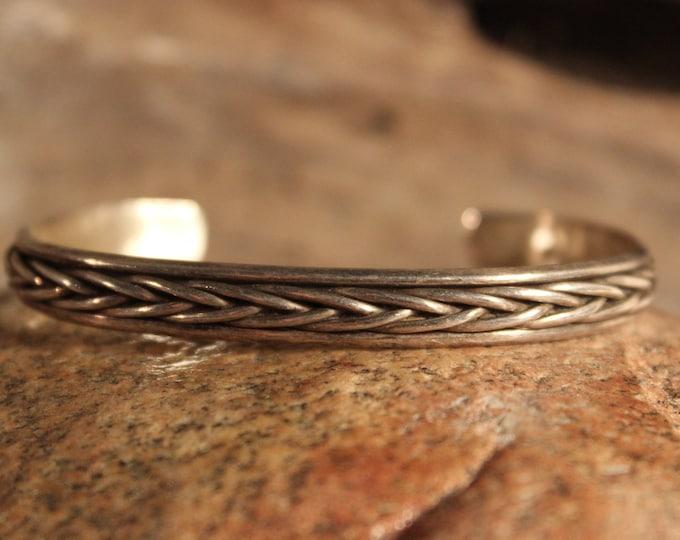 Vintage Viking Sterling Braded Bracelet Viking Norse Bracelet Norse Silver Braded Bracelet 18.8 Grams Viking Jewelry Norse cuff Bracelet