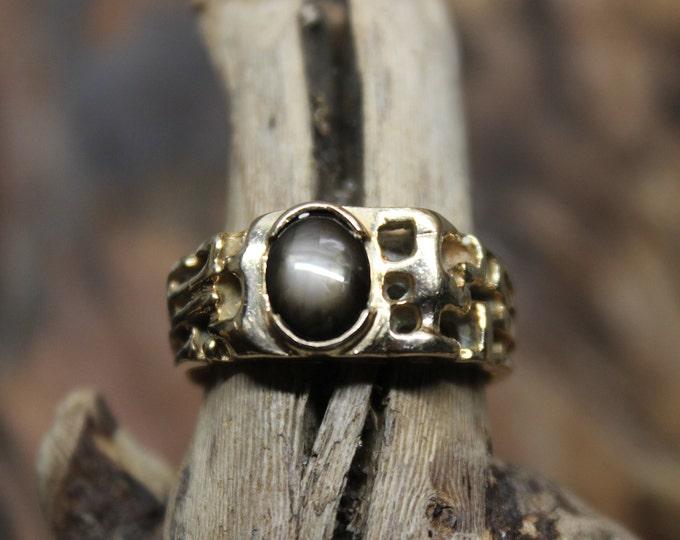 1980's Vintage  Mens Black Sapphire 10K Solid Gold Ring 5.6 Grams Size 9 Solid 10K Man Ring Vintage Mens Gold Sapphire Ring Man Vintage Ring