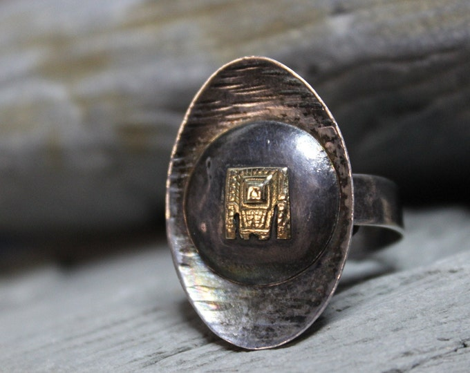Vintage 1950's Peruvian Inca Sterling Silver 18K Gold & Sterling Ring Weight 6 Grams Size 8 Adjustable Mens Silver Gold Ring Man Ring Silver