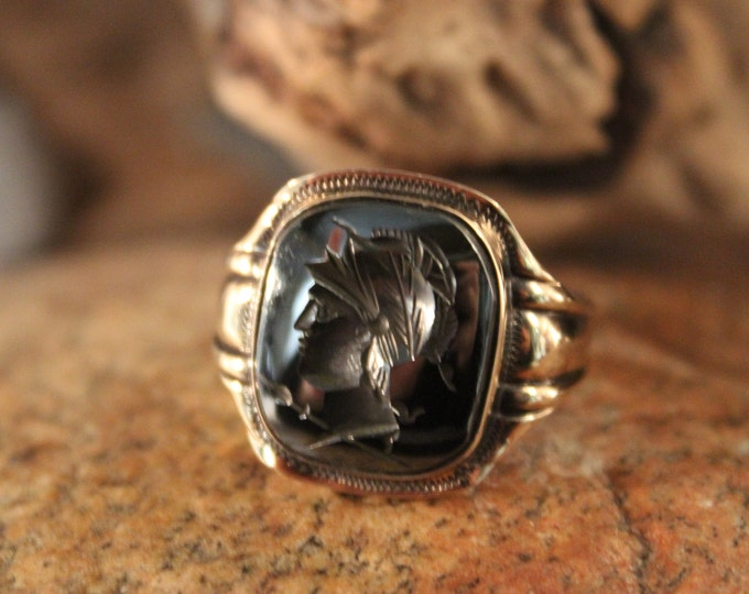 Vintage Intaglio  10K Gold & Sterling Roman Soldier Ring 7.9 Grams Size 10 Vintage Hematite Gold Ring Silver Vintage Ring Mens Silver Rings