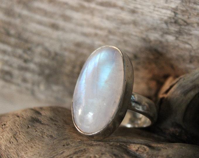 Vintage Sterling Silver Moonstone Ring 10 Grams Size 5.75 Vintage Moonstone Silver rings Ring Vintage Mens rings Womans vintage Silver rings