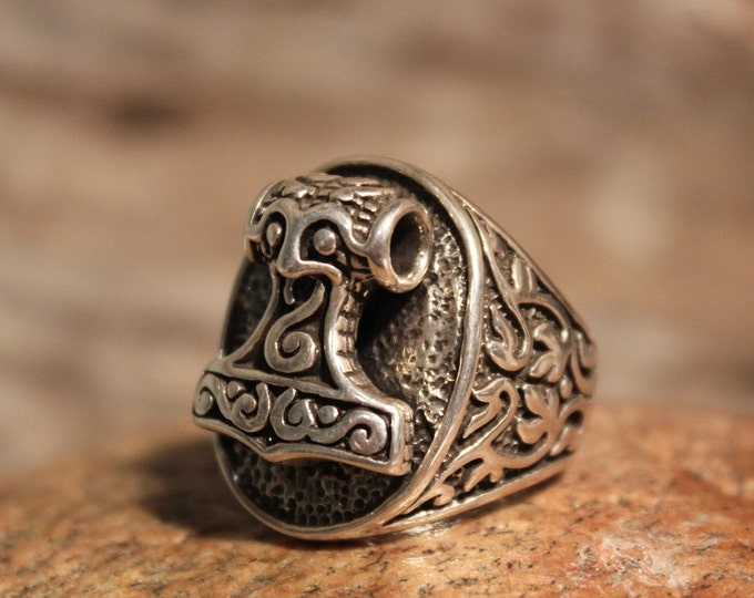 Large Mens Sterling Silver Skane Thors Hammer Ring Size 9 Skane Hammer Viking Ring 23.7 Grams Viking Sterling Rings Viking Rings Mens Rings