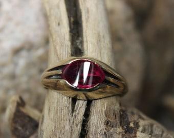 1980's Vintage Mens Ruby Ring 5 Grams Size 9.5 Man 10K Yellow Gold Ruby Ring Mens Gold Signet Rings Vintage Ruby Rings Solid Gold Man Ring