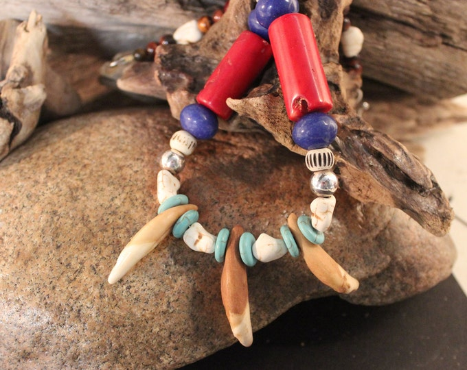 """Large Wolf Tooth Necklace 20"""" Sterling Silver Beads Large Wolf Tooth  Turquoise Jade Bone Coral Necklace African Native American Spiritual"""