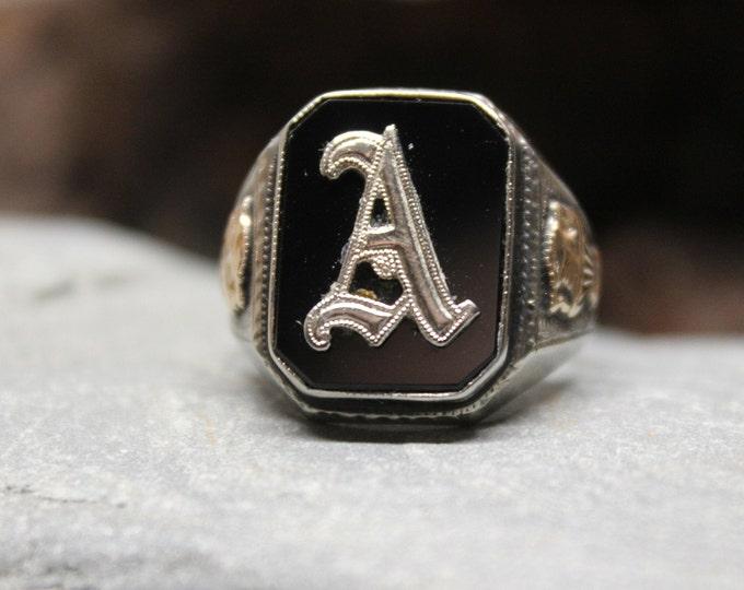 1920's Vintage Deco Signet Ring Mens 10K Solid Gold Ring 5.1 Grams Size 9  Mens Solid Gold Initial Ring Vintage Gold Rings Men Gold Rings