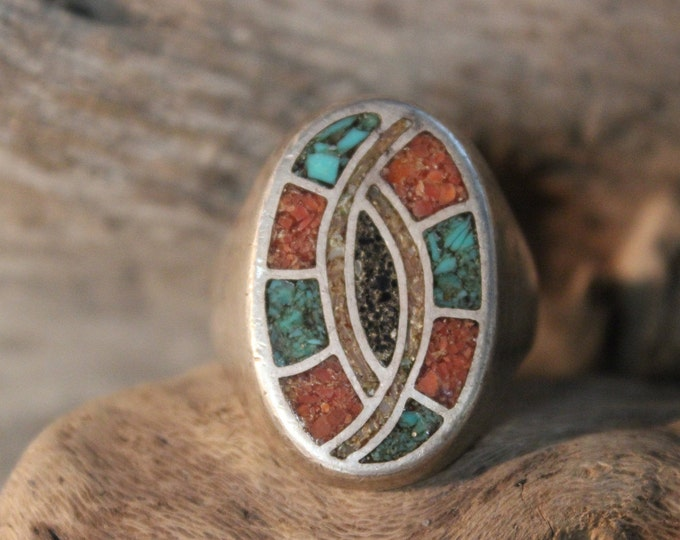 Mens Ring Vintage Navajo Native American Heavy 25.9 grams Sterling Silver Size 12 Mens Signed large Navajo Turquoise Coral Ring Mens Ring