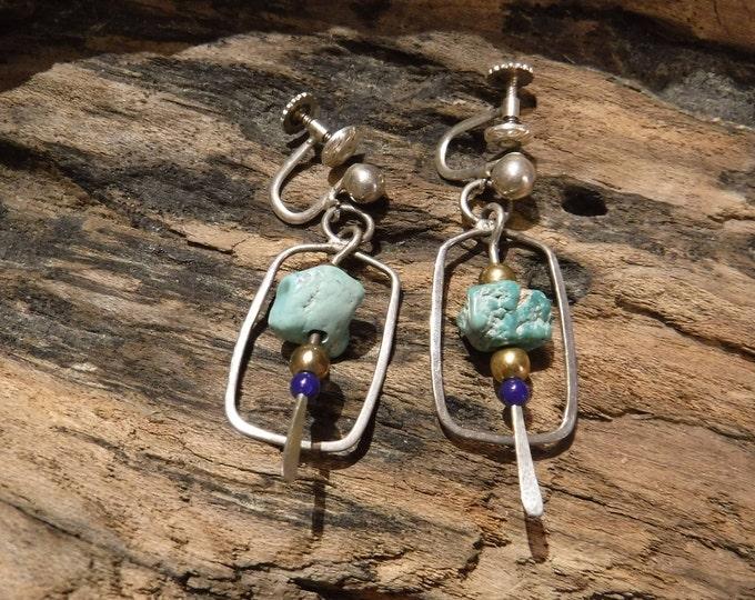 Vintage Earrings Native American Navajo Sterling Silver Turquoise Earrings Stamped  Signed Weight 5.8 Grams Native American Vintage Earrings