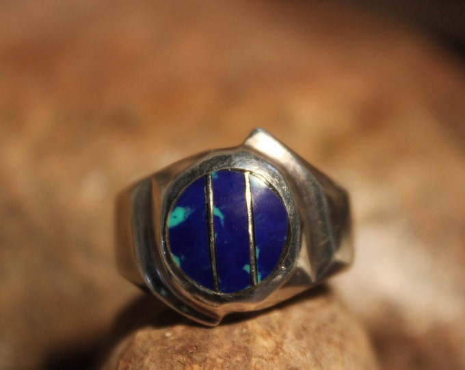 Large Vintage Sterling Silver Ring Vintage Azurite Ring 9.8 Grams Size 10.5 Silver Man Ring Vintage Mexico Sterling Silver Vintage Mens Ring