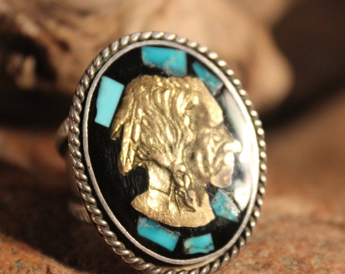 Mens Silver Ring Vintage Zuni Navajo Native American Rings 12.2 Grams Size 8.5 Large Indian Head Ring Mens Turquoise Ring Silver mans ring