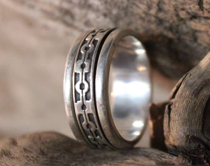 Large Mens Ring Mexico Sterling Silver Mens Spinner Ring 10.7 Grams Size 11.5 Stamped 925 Mexico  Ring Mens Ring Wide Band sterling Silver