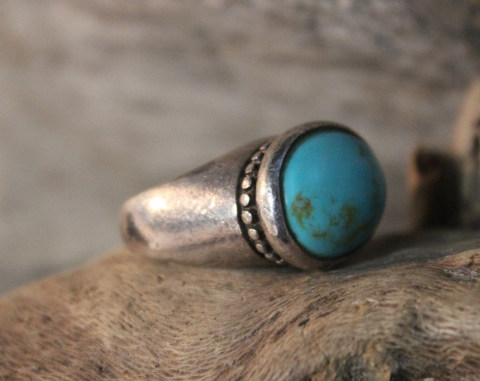 Large Southwestern Sterling Silver Turquoise Ring 7.1 Grams Vintage Silver Silver 925 Size 5.5 Unisex Mens Silver Ring Turquoise Mens Rings