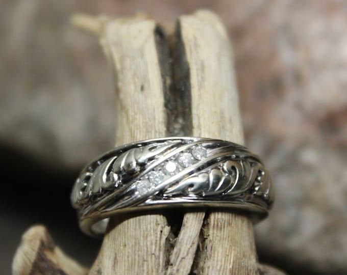 1980's Vintage  Mens  Diamond Ring 10K White Gold  Ring 5 Diamonds 5.5 Grams Size 10 Diamond Wedding Band Vintage White Gold Ring Diamond