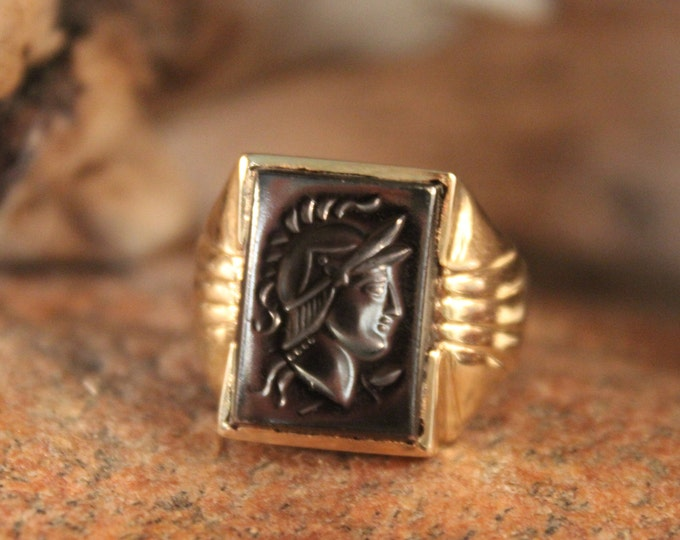 Mens 10K Solid Gold Ring Roman Soldier Ring Size 9 Vintage Mens 10K Yellow Gold Ring 6 Grams Roman Gold Ring Mens Gold Rings Mens Gold Ring