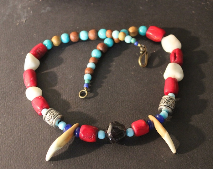"""Wolf Tooth Necklace 18"""" Natural Garnet White Turquoise Coral Blue Jade Black Agate Aquamarine Blue Cats Eye Wood  African Native American"""
