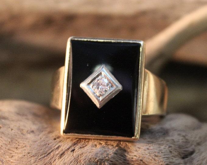 Vintage  Mens Diamond Ring 1/4ctw Diamond Ring 10K Solid Yellow Gold Mens Ring  12 Grams Size 14 Men Vintage Diamond Ring Mens 10K Onyx Ring