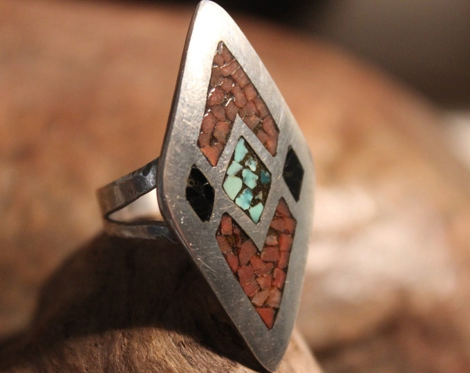 Large Vintage Zuni Ring Native American Sterling Silver Ring Size 9 Heavy 8 grams Turquoise Coral Inlay Ring  Mens Ring Native American Ring