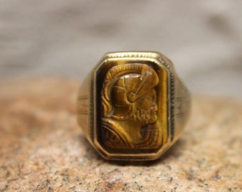 1930's Vintage  Mens 10K Solid Gold Roman Soldier Ring 4.3 Grams Size 11 Vintage Man Ring Yellow Gold Ring Mens Vintage solid Gold Ring 1930