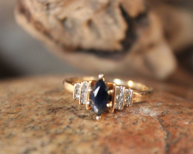 Vintage 10k Gold Diamond Ring 2.4 Grams Blue Sapphire & Diamond Ring Size 6.5 Vintage Diamond Gold Rings  Vintage Sapphire Diamond Rings