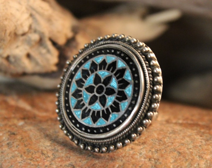 Large Vintage Ring Silver Turquoise Rings 14.5 Grams Size 7 Vintage Turquoise Inlay Mexican Silver Vintage Ring Mens Mexico Silver Rings