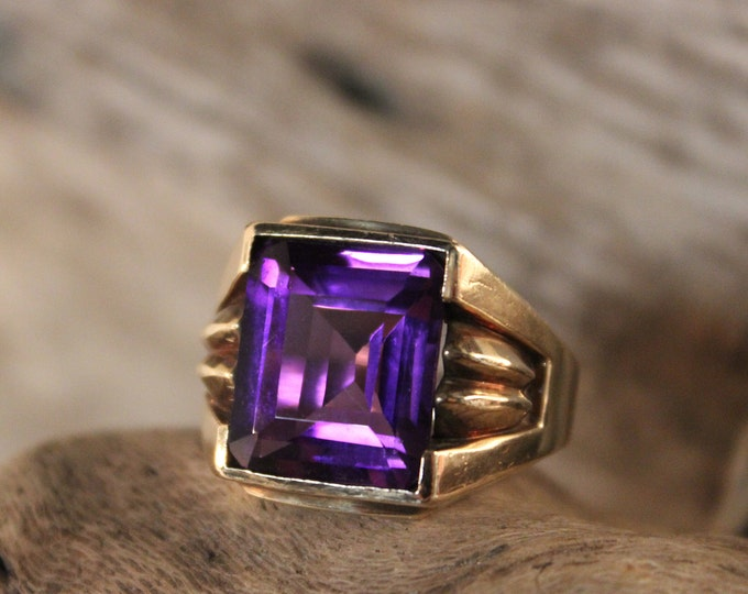 Rare Mens Large Sapphire Ring 10K Solid Gold Mens Ring 8.2 Grams Size 10.5 Vintage Mens Yellow Gold Ring Mens Large Purple Sapphire Ring