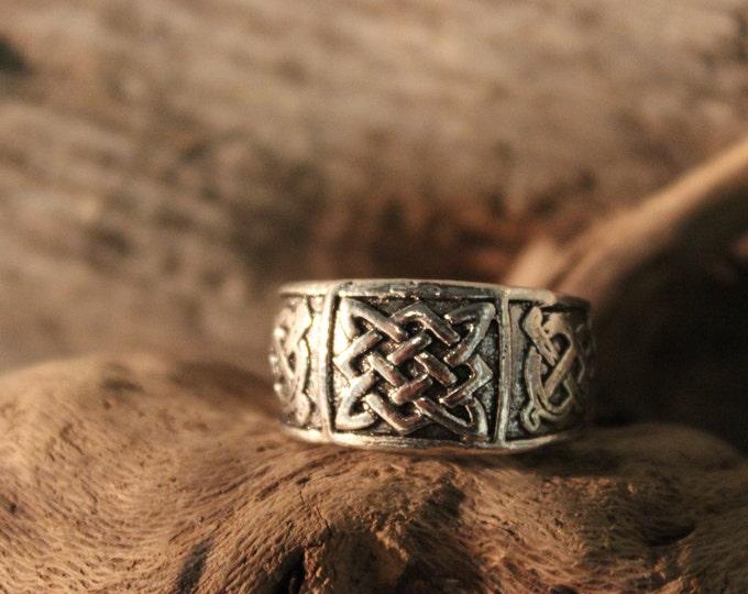Mens Viking Ring Silver Viking Band Ring Norse Ring Celtic Ring 8.5 Grams Size 8 Adjustable Viking Band Ring Mens Rings Mens Vikings Rings