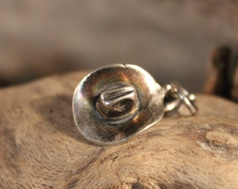 "Vintage Sterling Silver Pendant Charm 4.5 grams Silver Pendant Charm ""Cowboy & Lady"" Silver Pendant Silver Charm Solid Silver Cowboy Hat"