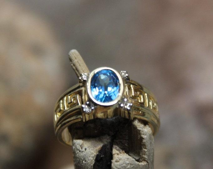 Vintage 10k Solid Gold Blue Topaz & Diamond Ring 4.3 Grams Size 7 Diamond Topaz Rings Vintage Blue Topaz Gold Rings Diamonds Topaz 10K Gold