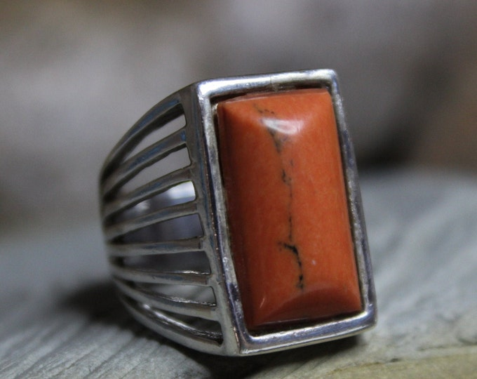 Large Silver Coral Ring Sterling Silver Ring 13.2 Grams Size 8 Man Silver Ring  Sterling Coral Ring Silver Vintage Ring Man Silver Mens Ring