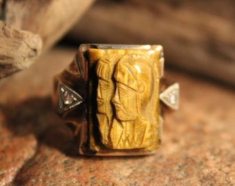 1920's Vintage Mens 10K Solid Gold Diamond Ring Roman Soldier Ring 9.4 Grams Size 9 Ring Vintage Yellow Gold Ring Mens Vintage Gold  Rings