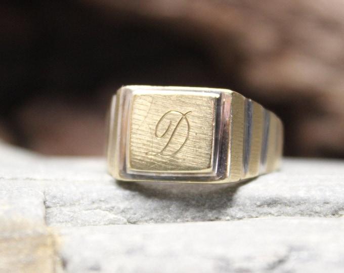 1970's Vintage Deco Signet Ring Mens 10K Solid Gold Ring 4.5 Grams Size 10.5  Mens Solid Gold Initial Ring Vintage Gold Rings Men Gold Rings