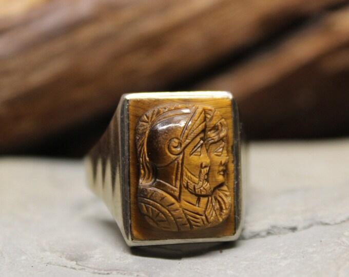 1950's Vintage  Mens 10K Ring Solid White Gold Ring Roman Soldier Ring 5.9 Grams Size 9 Ring Vintage White Gold Ring Men Vintage Gold  Rings