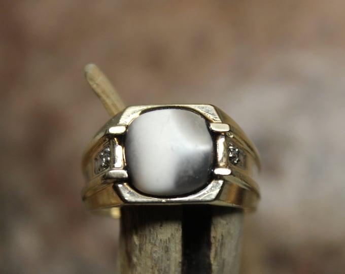1990's Vintage Mens Large Cats Eye & Diamond Ring 5.7 Grams Size 10.5 Solid 10K Gold Mens Ring Vintage Mens  Diamond Ring Mens Vintage Ring