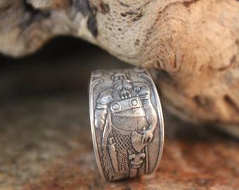 Norse Viking Silver Ring Leif Ericson Ring Odin's Valknut Rings Odin Viking Ring Size 9 Adjustable 7.8 Grams Viking Ring Friendship Rings