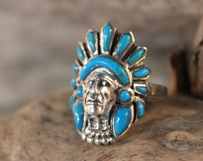 Mens Silver Ring Vintage Zuni Navajo Native American Rings 7.4 Grams Size 7.5 Large Indian Head Ring Mens Turquoise Ring Silver mans ring