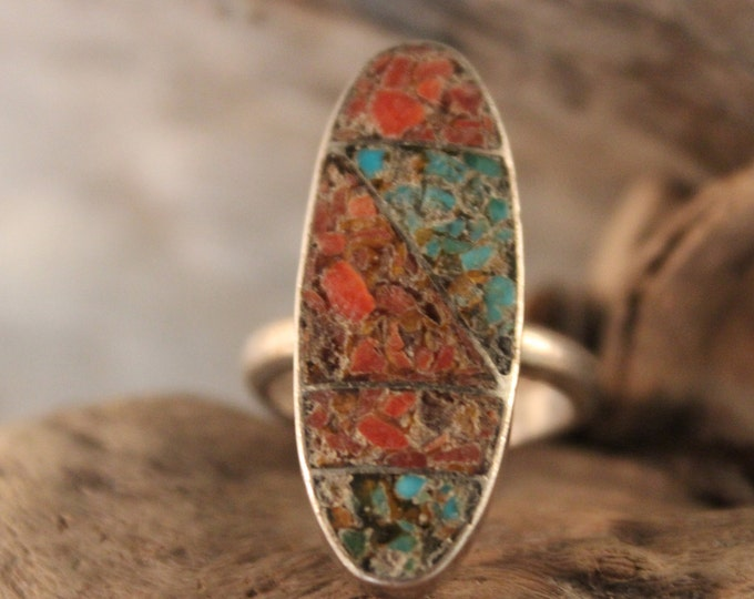 Vintage Navajo Sterling  Silver Turquoise Coral Ring Native American Hand Signed YAZ 8.1 grams  Size 7 Sterling  Turquoise Coral Inlay Ring