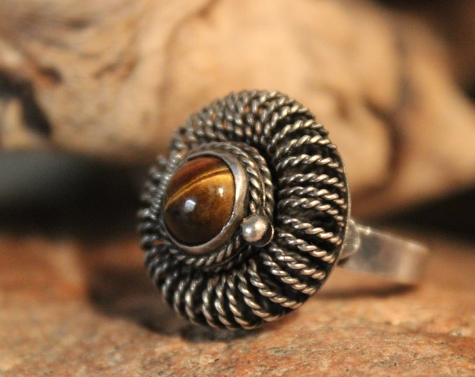 Sterling Mexico Large Tigers Eye Poison Ring  7.6 Grams Size 8 Adjustable Sterling Silver Poison Ring Large Vintage Mexico Tigers Eye Rings