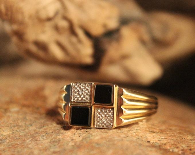 Vintage Mens Diamond Ring Diamond Onyx Mens Ring 1980's 10K Yellow Gold Mens Ring 5 Grams Size 13 Mens Vintage Diamond Ring Mens Gold Rings