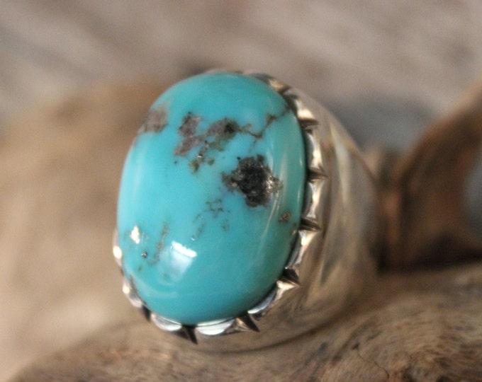 Mens Ring Heavy Sterling Silver Navajo Native American Vintage 38.4 Grams Size 10 Large Silver NavajoRing Mens Turquoise  Ring Mens  Rings