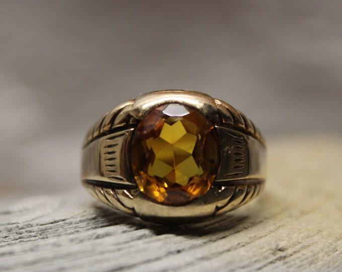 Vintage 1950's Large Mens 14K Gold 4CTW Golden Topaz Ring 5.9 Grams Size 12.5 Solid Gold Mens Ring 14K Large Golden Yellow Topaz Gold Ring