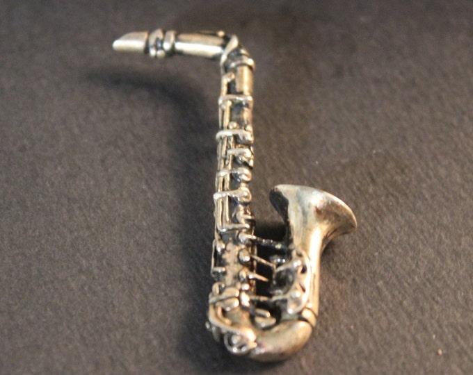 Large Saxophone Pendant Vintage Mexico Sterling Pendant 17 Grams Silver Silver Music Pendant Sterling Silver Mexico  Pendant Large Pendant