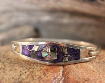Vintage Signed Taxco Mexico Eagle Head Abalone Flower Silver Bracelet Abalone Shell Bangle Bracelet Heavy 14.4 Grams Vintage silver signed